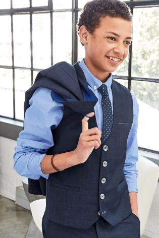 e7e74d3274 Buy Navy Check Waistcoat, Shirt And Tie Set (12mths-16yrs) online ...