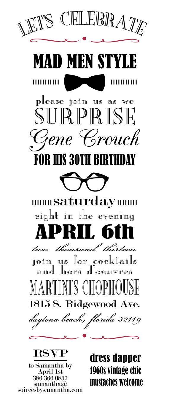 Mad Men Party Invitation Vintage Typography by LetterandthePress ...