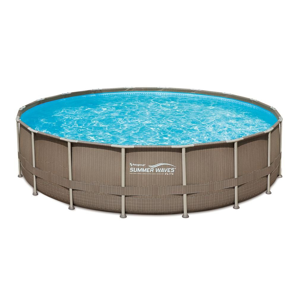 Summer Waves Elite 20 Ft X 48 In Deep Round Above Ground Pool Elite Metal Frame Pool With Sand Filter Cover Surestep Ladder Maint Kit P4g02048b121 The H Summer Waves Above