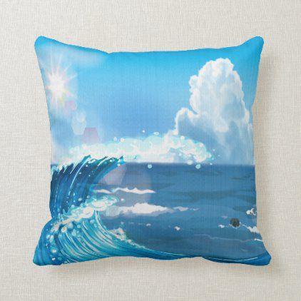 Sunrays on Ocean Waves with Cloudy Blue Sky Throw Pillow