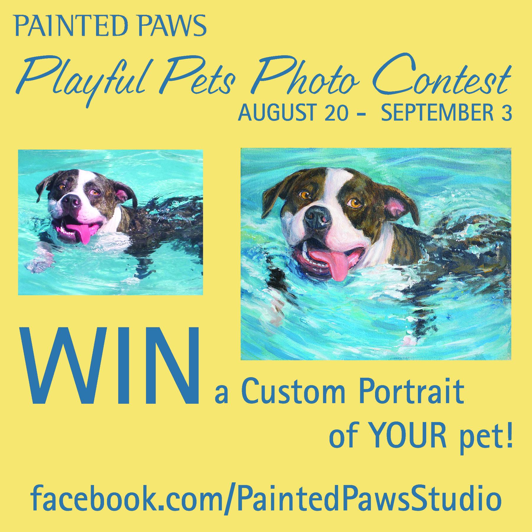 Win A Custom Pet Painting Facebook Com Paintedpawsstudio For Details Playfulpet Custompetportrait Paint Custom Pet Portraits Pet Photo Contest Paw Painting