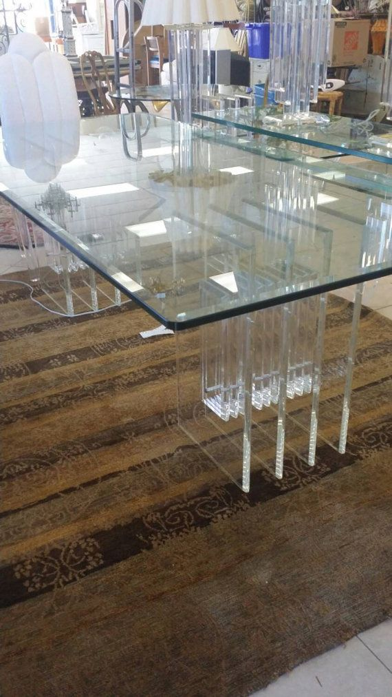 Vintage Double Base Radiator Lucite Dining Table By Feelinvintage