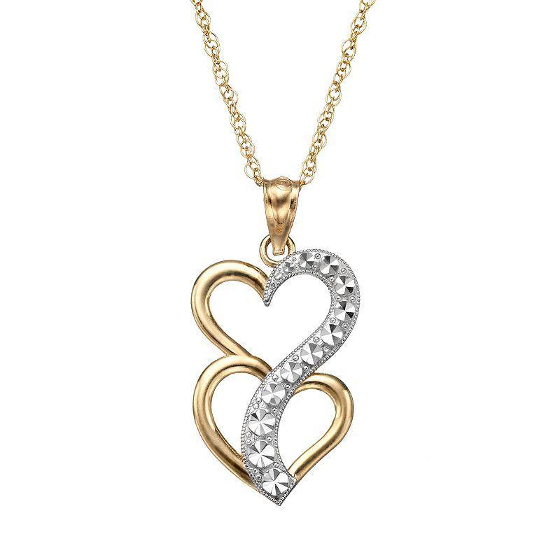 10k Gold Two Tone Double Heart Journey Pendant Necklace Women S Size 18 Journey Pendant Pendant Necklace Heart Pendant Necklace