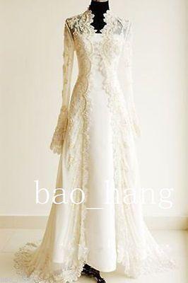 Vintage-Gold-Champagne-Wedding-JacketsLong-Lace-Full-Sleeves-Bridal-Wraps-Cape
