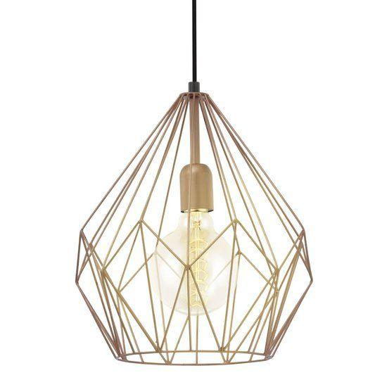 eglo vintage hanglamp 1 lichts koperkleurig voor in de