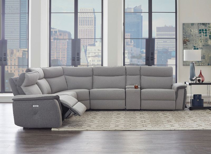 Homelegance He 8259 6pc 6 Pc Maroni Gray Fabric Sectional Sofa Power Motion Recliners And Console Power Reclining Sectional Sofa Reclining Sectional Modern Reclining Sectional