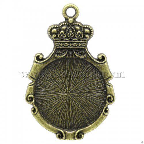 Wholesale charm pendants crown mirror antique bronze cabochon wholesale charm pendants crown mirror antique bronze cabochon settingsfits 275mm dia 53 aloadofball Gallery