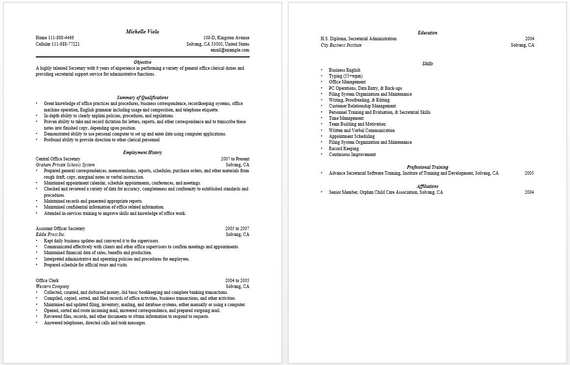 Secretary Resume Resume Tips Resume Examples Resume