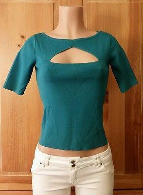00e97fe9a5afc5 DANA BUCHMAN Womens Short Sleeve Green Ribbed Peephole Neckline Shirt Top  Sz S