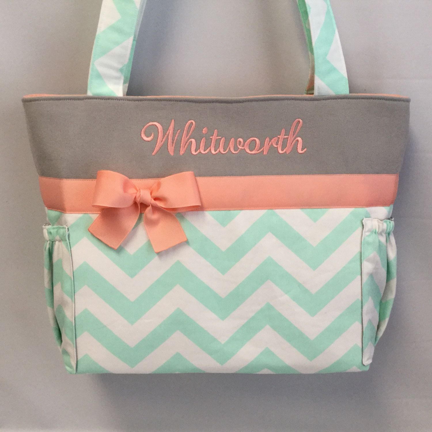 personalized tote mint chevron light coral and gray accents diaper bag bottle. Black Bedroom Furniture Sets. Home Design Ideas