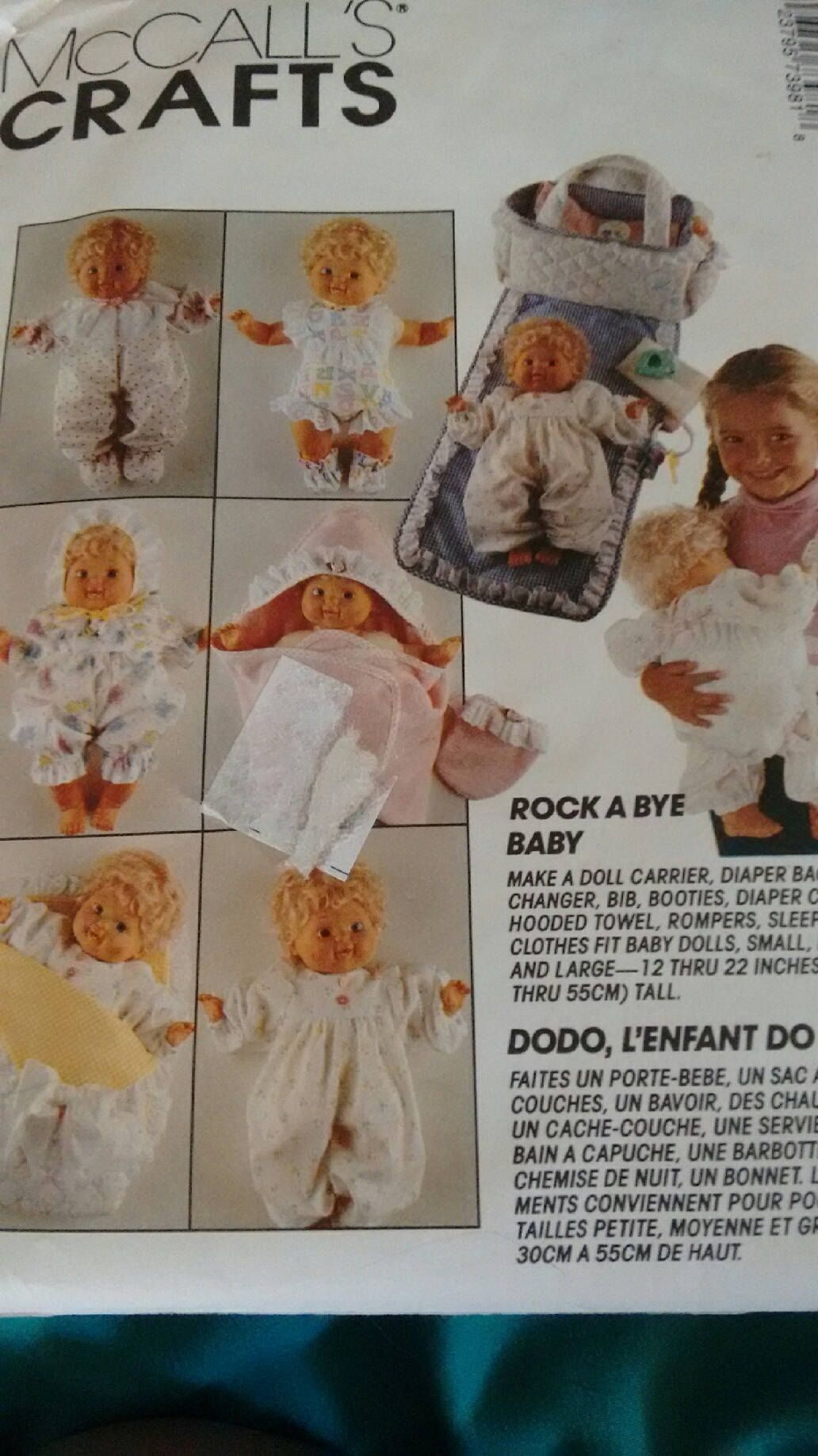 DOLL CLOTHES PATTERN McCalls 7398 / 0655 Baby Doll Clothes pattern on