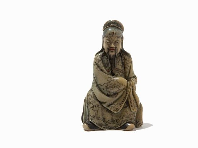 Carved Soapstone Figure, China, 17th/18th C.