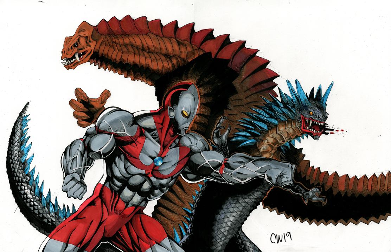 Ultraman Vs Bemular Vs Red King By Https Www Deviantart Com Christianwillett On Deviantart Red King Deviantart