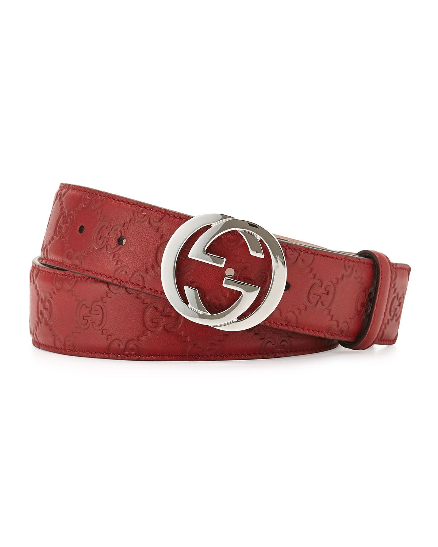 b888311629884 Interlocking G Leather Belt, Red, Size: 46IN/115CM - Gucci ...
