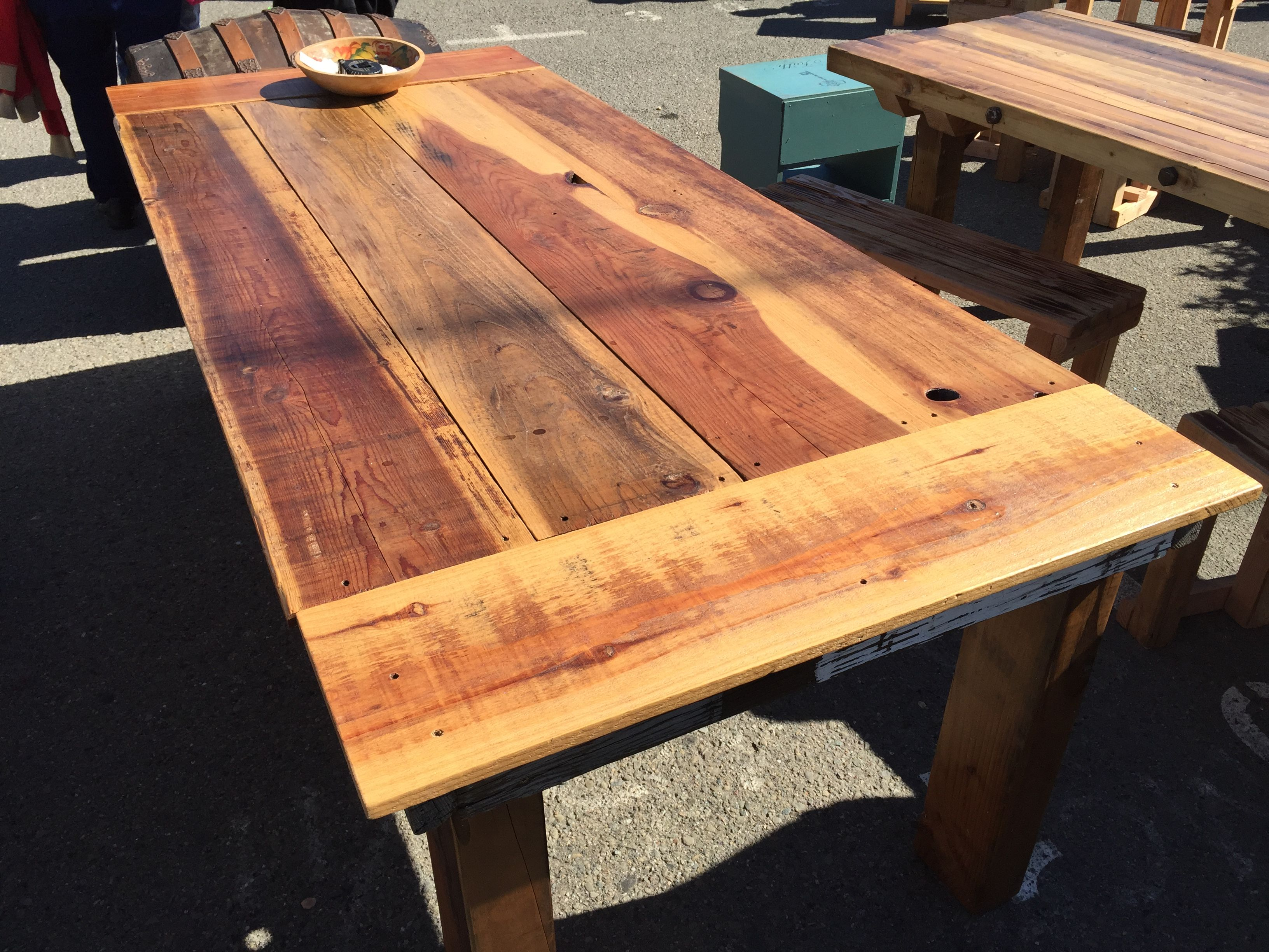 Charming 1 Of A Kind, Handmade Indoor/outdoor Dining Table, 100% Reclaimed Wood, By  The 1 And Only Vinceu0027s Wood Work. Seen Today At The Treasure Island Flea In  San ...