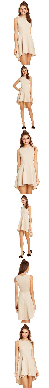 ROMWE Women's Fit And Flare Sleevless Dress High Low Elegant Swing Dresses Biege M