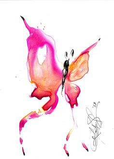 Butterfly Song 16... Original abstract watercolor art ooak painting by Kathy Morton Stanion  EBSQ