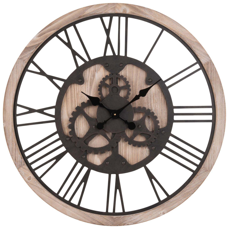 Horloge à Rouages Coloris Naturel Et Noir D79 Aménagement