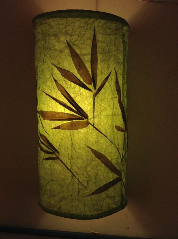 Paper Lamp Shade Bamboo Leaves Eco Lampshade Wall Mount Light Warm Lighting