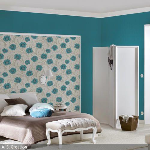 Wohnideen Schlafzimmer Türkis wandgestaltung in türkis blumenmuster wandgestaltung und türkis