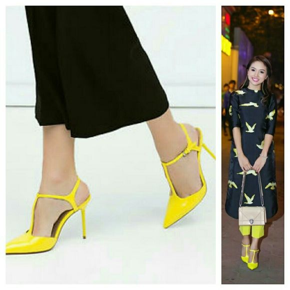 Zara shoes (6206) New with tag. EUR 38 US 7.5. Upper 100% POLYURETHANE.  Lining  100% polyurethane.  Sole 100% Styreme Butadiene rubber.   Color yellow   Height 6,7cm Zara Shoes Heels