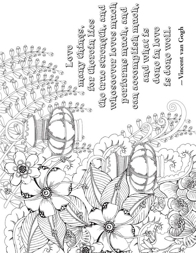 Creative Haven Deluxe Edition Artful Quotes Coloring Page