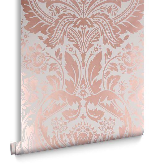 Desire Mink Wallpaper Rose Gold Wallpaper Pink Damask Wallpaper Wallpaper Stencil
