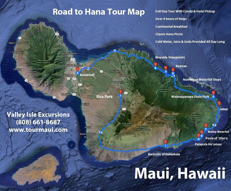 Check Out Our Maui Tour Route On A Road To Hana Map