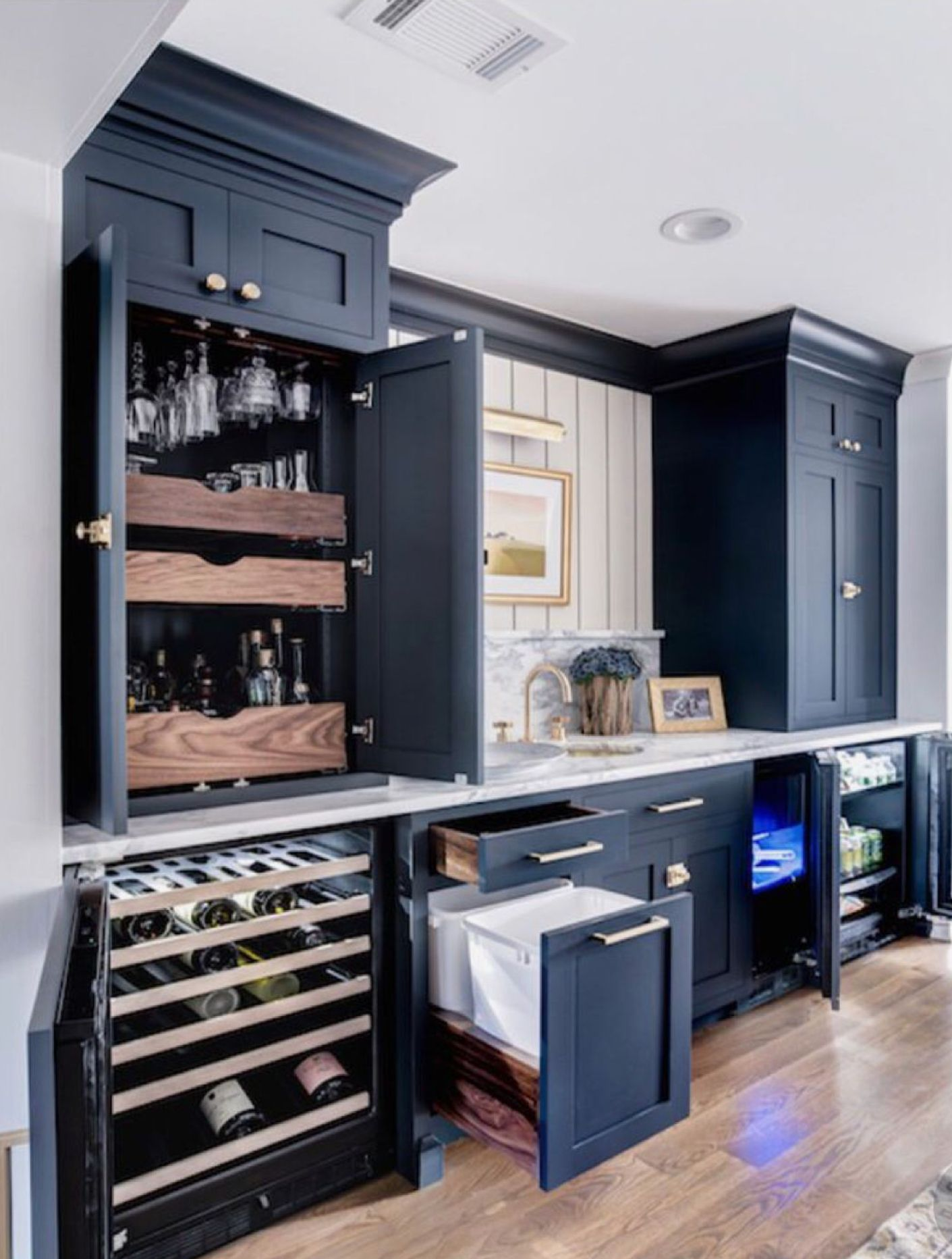 Hows This Kitchenette For Inspo Love The Dark Navy And The Countless Storage Options Bars For Home Kitchen Pantry Design Home Bar Designs