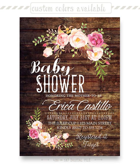 Rustic Floral Baby Shower Invitation Shabby Chic Girl Invite Twin