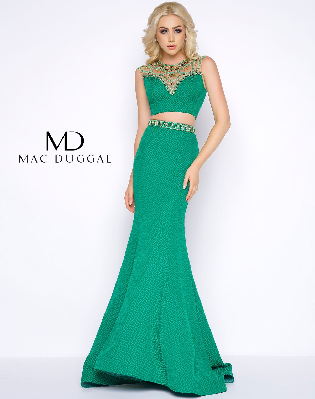 Sexy sleeveless emerald two piece illusion sweetheart neckline