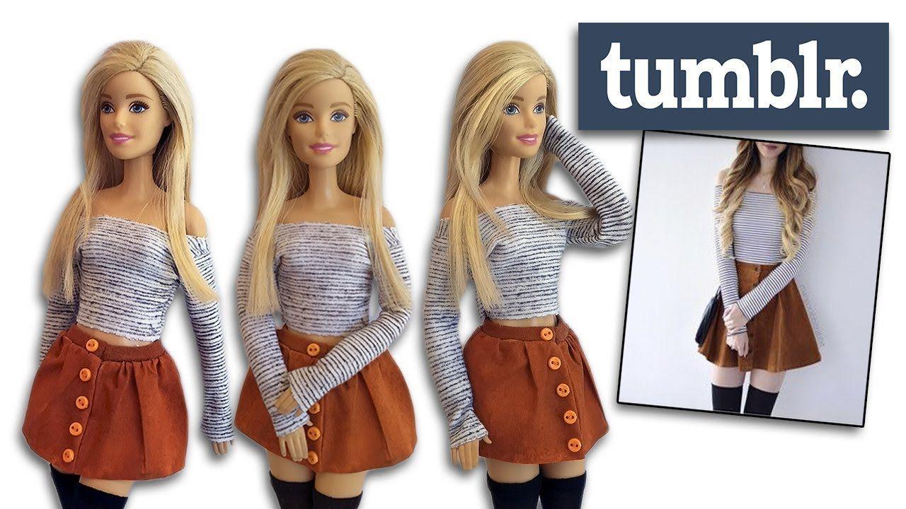 Roupa Tumblr Para Barbie Diy Cherry Miniaturas Barbie