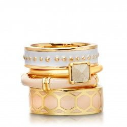 I love this 18 carat yellow gold vermeil pyrite and patterned enamel stacking ring set from astleyclarke.com