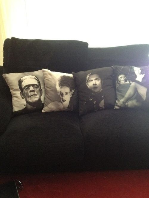 vintage horror pillows...link doesn't work....must find these for the media room!