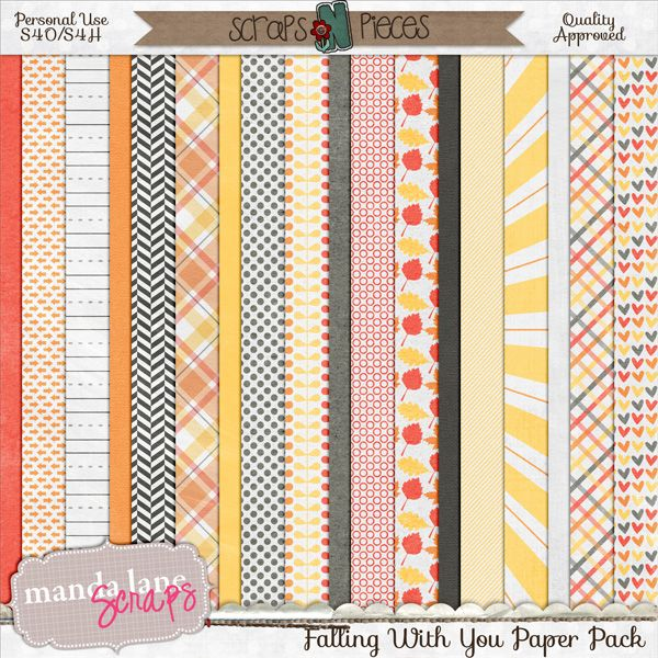 Falling With You Papers  It's time for Fall leaves and fun times! Scrap those wonderful fall memories with this cute, fun collection. These fun papers were made to coordinate with my Bits N Pieces collection - Falling with You.