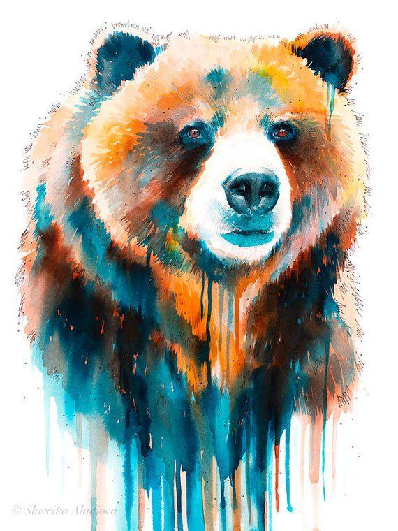 Grizzly Bär Aquarell Druck von Slaveika Aladjova, Kunst, Tier, Illustration, Wohnkultur, Kindergarten, Geschenk, Tierwelt, Wandkunst