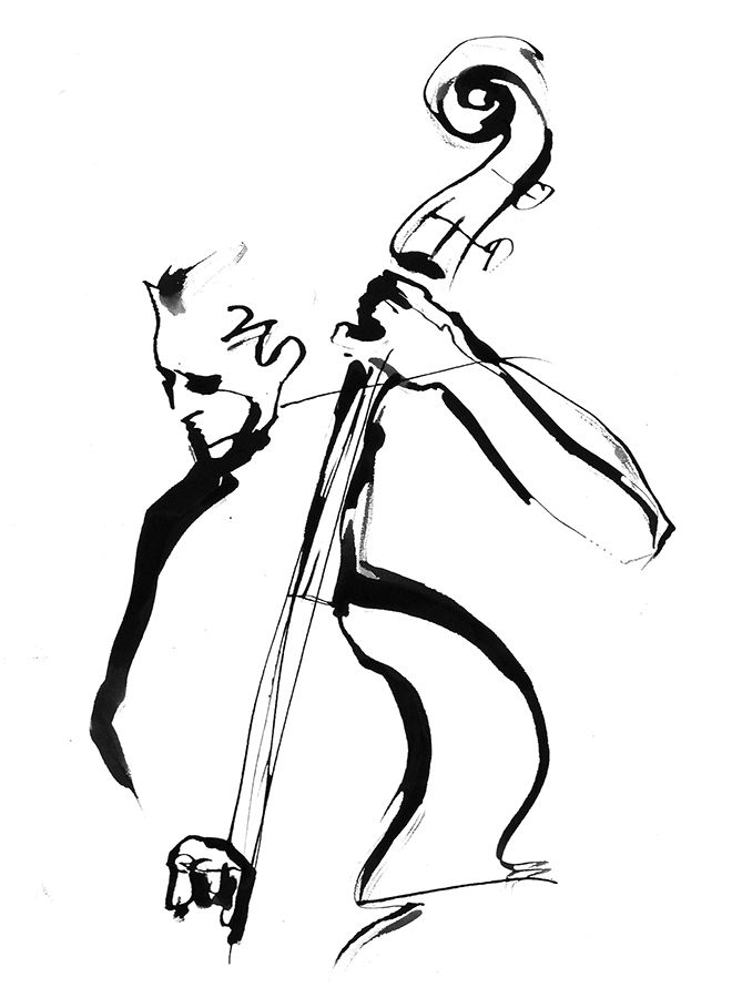 Jazz bass player black & white ink illustration by Eri