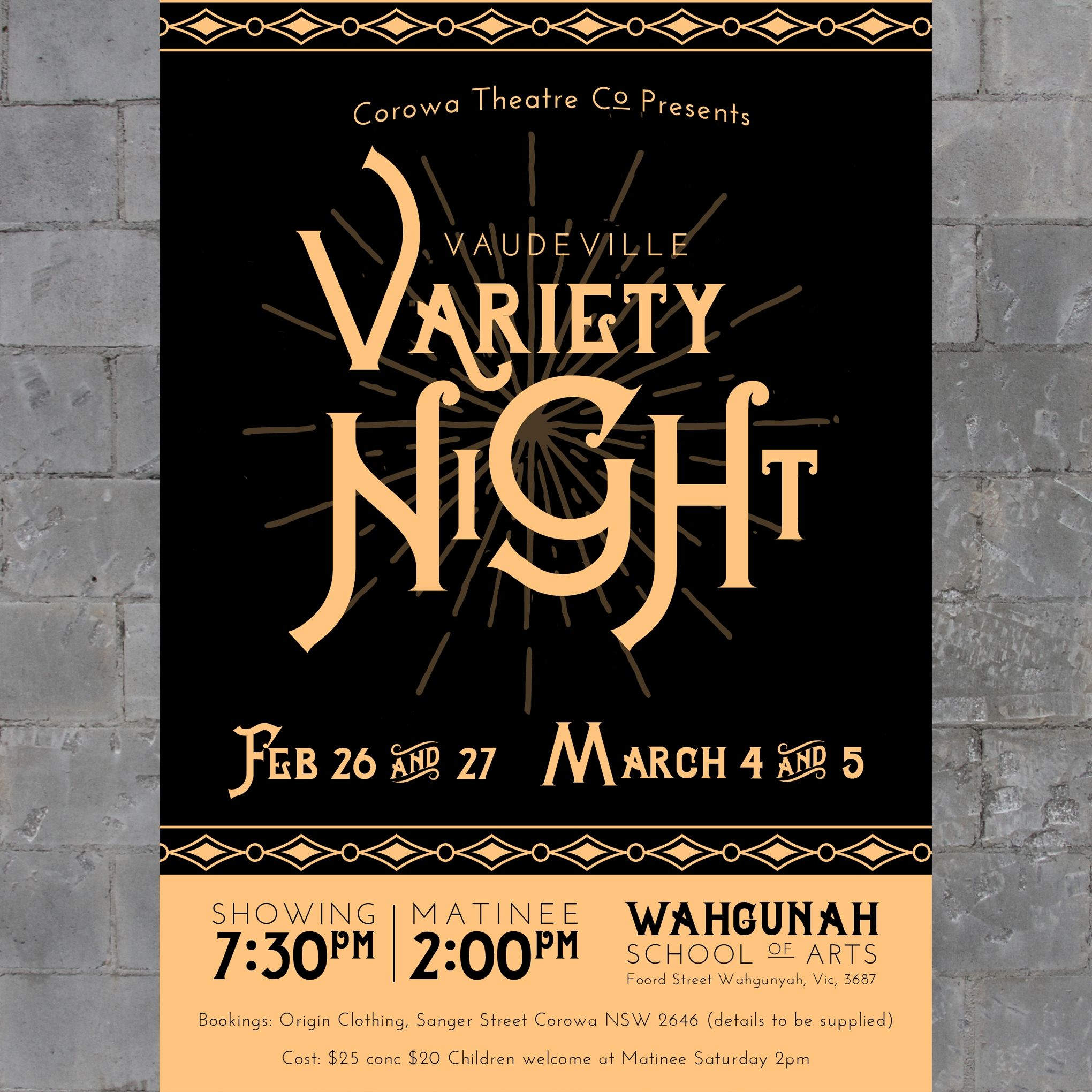 Designs Poster for Vaudeville Music Hall Variety Night