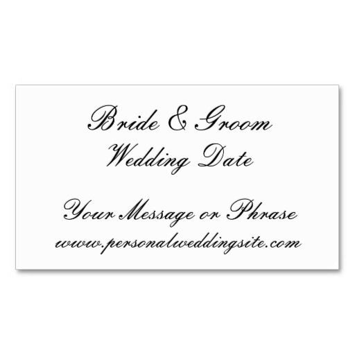 Wedding Website Insert Card For Invitations Business Card Template - Wedding business card template