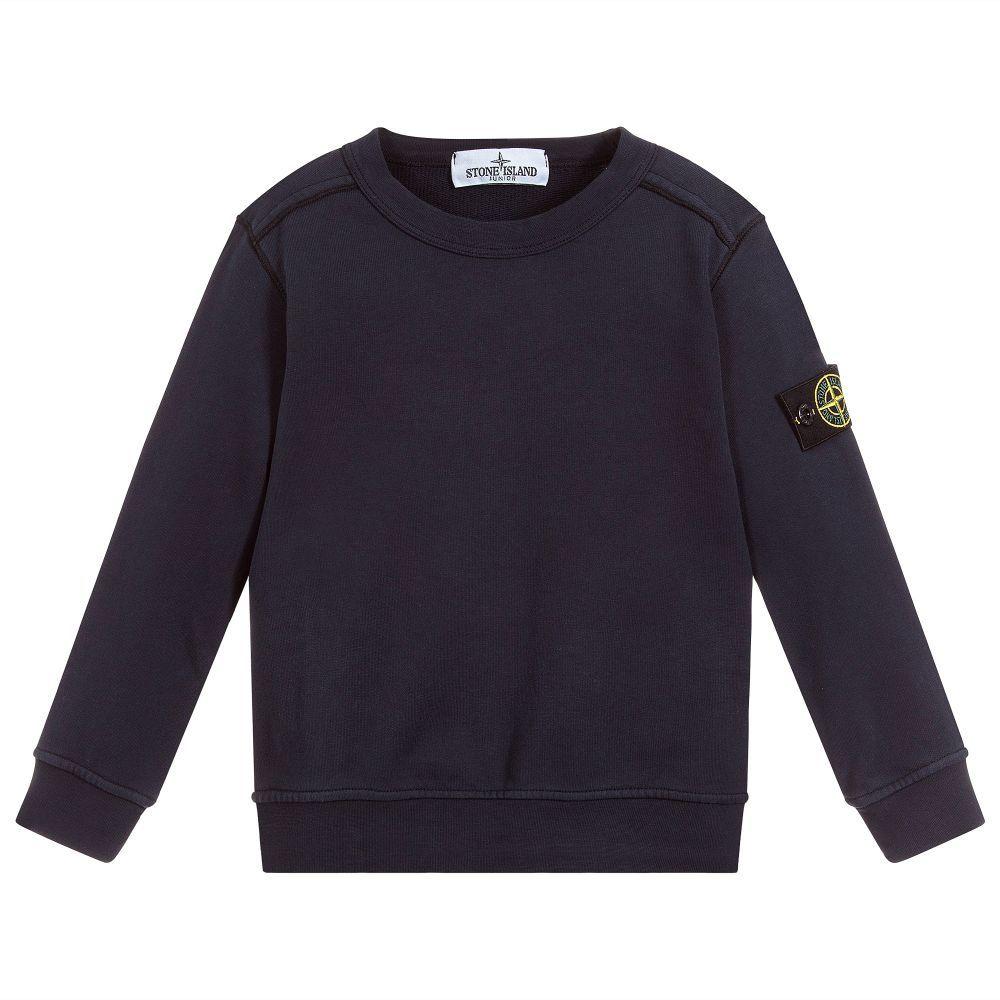 71711d656712f Navy blue cotton sweatshirt for boys by Stone Island Junior. It has a  smart