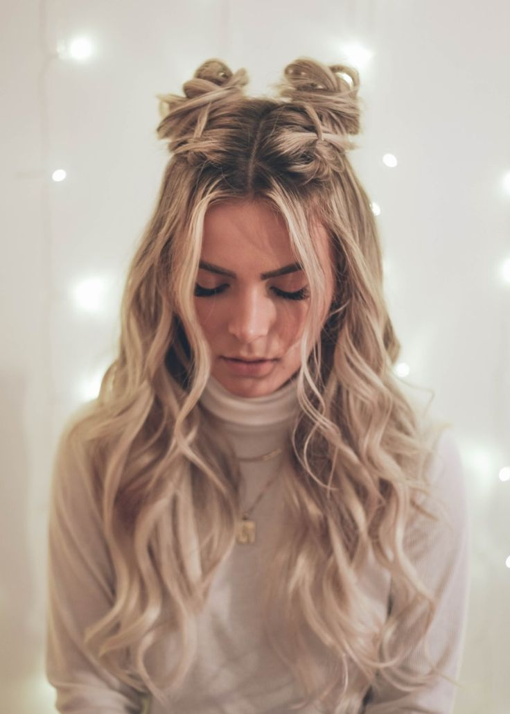 Half Up Space Buns Hair Styles Half Bun Hairstyles Long Hair Styles