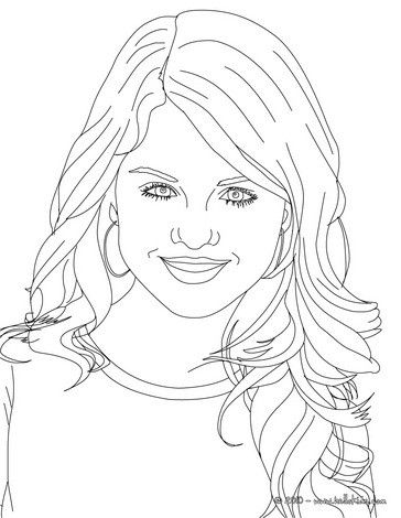Selena gomez close up coloring page more selena gomes - Coloriage selena gomez ...