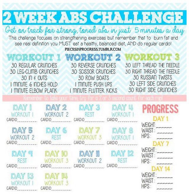 2 Week Ab Challenge Ab Workout Challenge Ab Challenge Workout Challenge