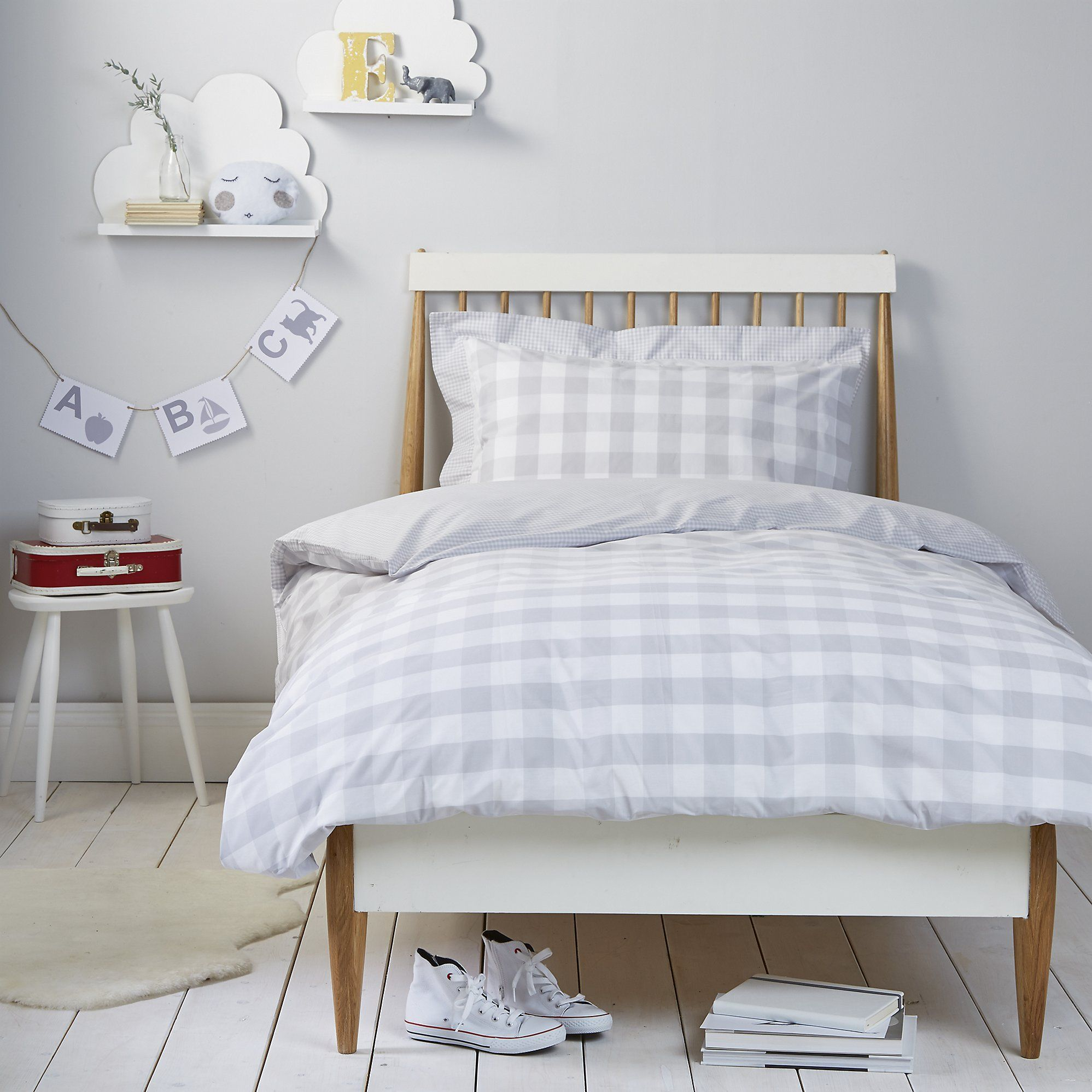 Lovely Gingham Bed Linen   Cool Grey | The White Company