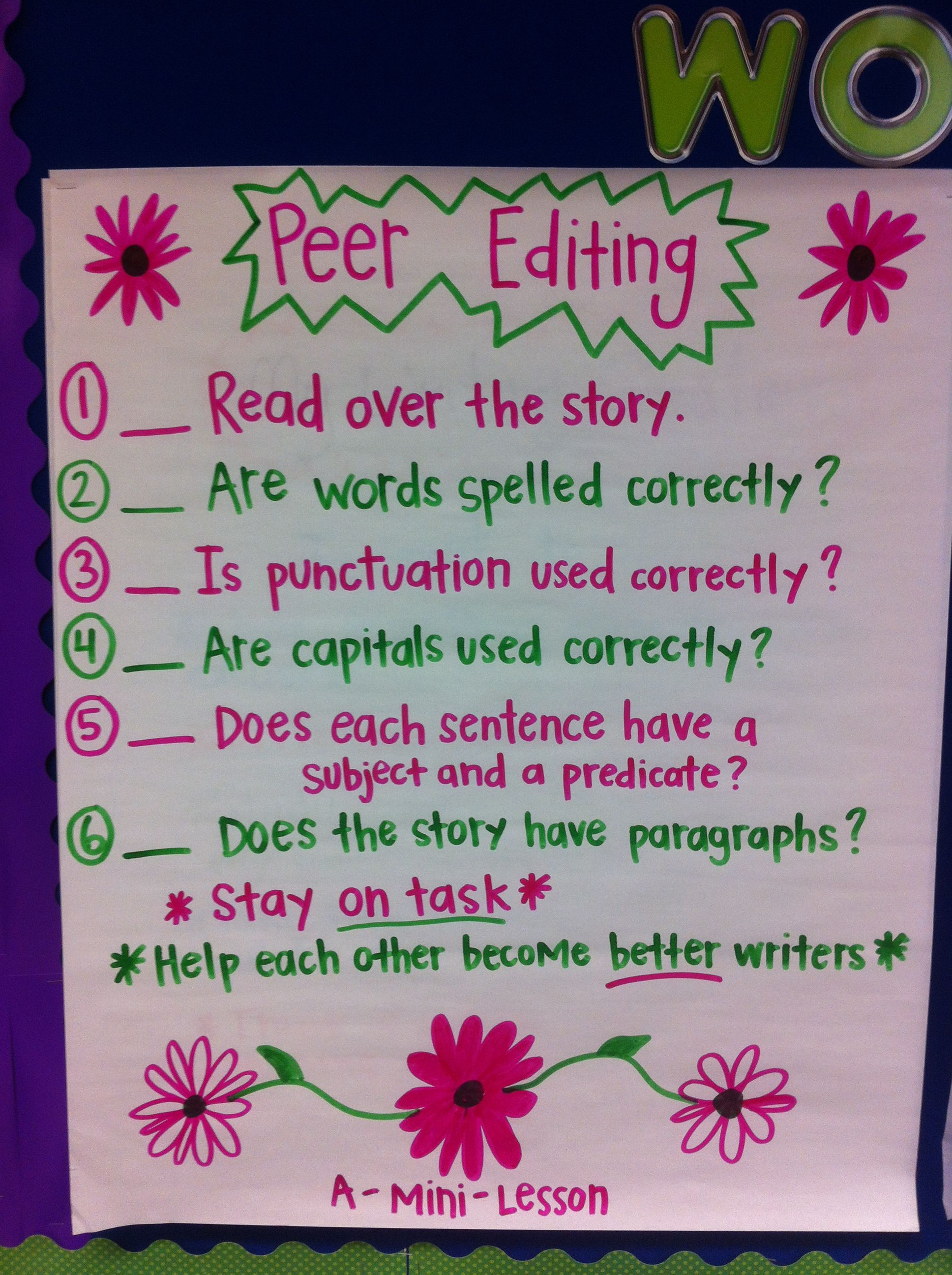 Peer Editing Anchor Chart Like The Idea Of This Chart
