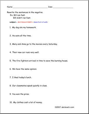Worksheet Don T Doesn T Didn T Esl Large Image With