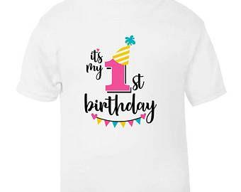 It's My 1st First Birthday T-Shirt Childrens Kids T Shirt Girls Age Size Cake Smash
