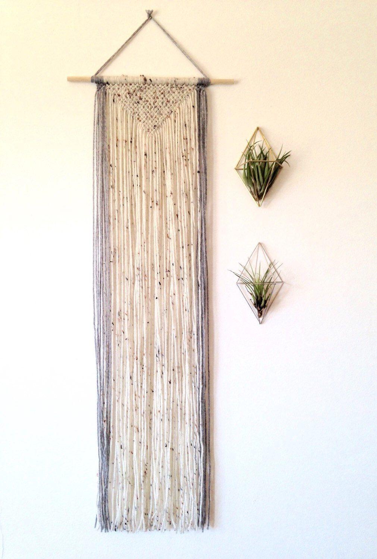 Macrame wall hanging, long wall hanging. Geometric wall decor, triangle shape pattern. Yarn wall hanging. Speckled white, grey. by Rowanstudios on Etsy https://www.etsy.com/listing/253240368/macrame-wall-hanging-long-wall-hanging