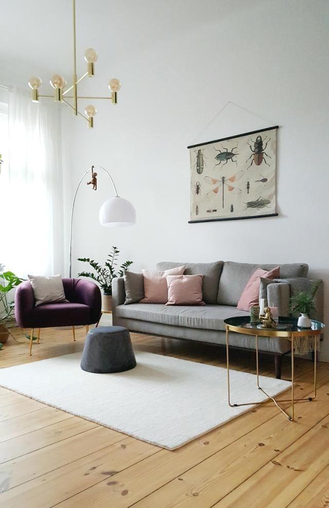 Skandinavisches Vintage-Wohnzimmer in hellen Farben \u2013 PIxiswelt