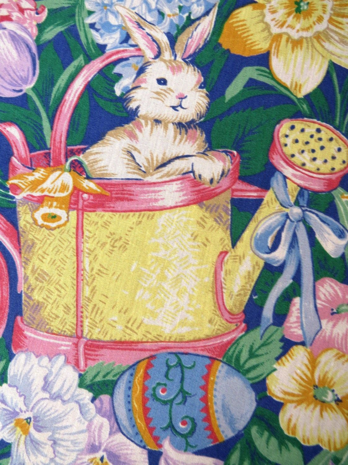 Very Large Easter Bunny Bunnies Tablecloth Rabbits Watering Cans Easter Eggs Baby Chicks Spring Flow Easter Table Linens Easter Bunny Spring Garden Flowers